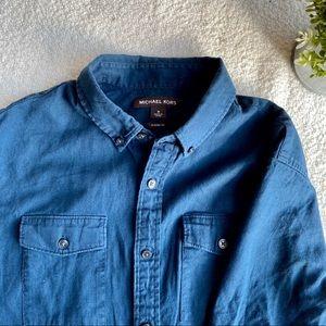 Men's Michael Kors Blue Short Sleeve Button Up M